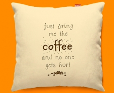 Bring the Coffee Typography Funky Sofa Cushion