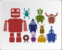 Multicoloured Robots Set Wall Sticker