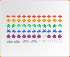 Multicoloured Space Invaders Set Wall Sticker