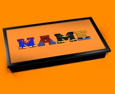 Orange Superhero Personalised Childrens Name Cushioned Laptop Lap Tray