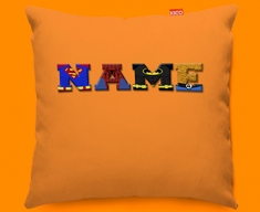Orange Superhero Personalised Childrens Name Sofa Cushion