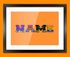 Orange Superhero Personalised Childrens Name Framed Print