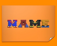Orange Superhero Personalised Childrens Name Poster