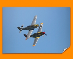 P 51 Mustang x2 North American Aviation Plane Poster