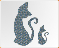 Patterned Cats Wall Sticker