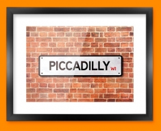 Piccadilly UK Street Sign Framed Print