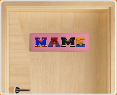 Pink Superhero Name Bedroom Door Sign