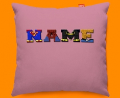 Pink Superhero Personalised Childrens Name Sofa Cushion
