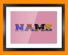Pink Superhero Personalised Childrens Name Framed Print