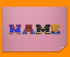Pink Superhero Personalised Childrens Name Poster