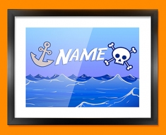 Pirate Personalised Childrens Name Framed Print
