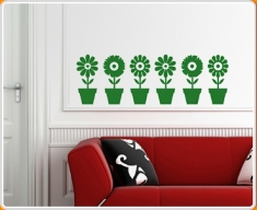 Plant Pot Flowers Wall Sticker