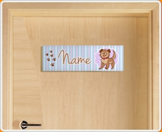 Puppy Personalised Name Children's Bedroom Door Sign