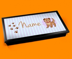 Puppy Personalised Childrens Name Cushioned Laptop Lap Tray