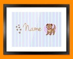 Puppy Personalised Childrens Name Framed Print