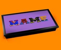 Purple Superhero Personalised Childrens Name Cushioned Laptop Lap Tray