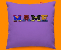 Purple Superhero Personalised Childrens Name Sofa Cushion