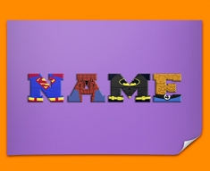 Purple Superhero Personalised Childrens Name Poster