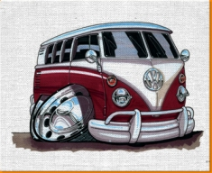 Purple VW Camper Van Canvas Art Print