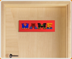 Red Superhero Name Bedroom Door Sign