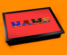 Red Superhero Personalised Childrens Name Cushion Lap Tray