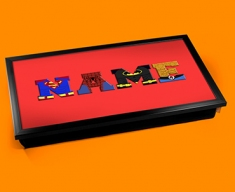 Red Superhero Personalised Childrens Name Cushioned Laptop Lap Tray