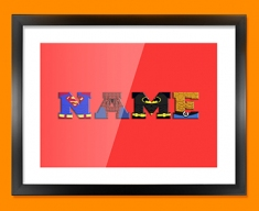 Red Superhero Personalised Childrens Name Framed Print
