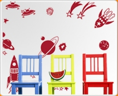 Rockets and Planets Wall Sticker