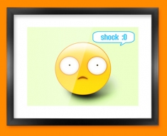 Shock Emoticon Framed Print