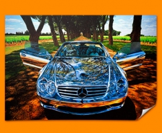 Silver Mercedes Poster