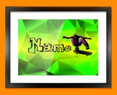 Skateboard Personalised Childrens Name Framed Print