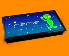 Space Alien Personalised Childrens Name Cushioned Laptop Lap Tray