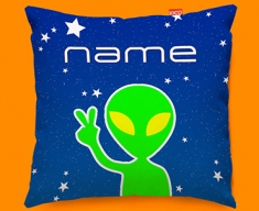 Space Alien Personalised Childrens Name Sofa Cushion