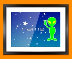 Space Alien Personalised Childrens Name Framed Print