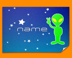 Space Alien Personalised Childrens Name Poster