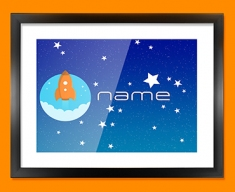 Space Rocket Personalised Childrens Name Framed Print