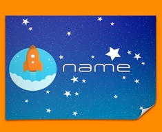 Space Rocket Personalised Childrens Name Poster