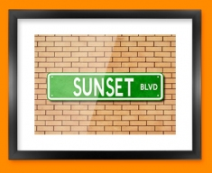 Sunset Blvd US Street Sign Framed Print