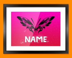 Tribal Butterfly Personalised Childrens Name Framed Print