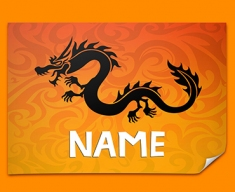 Tribal Dragon Personalised Childrens Name Poster