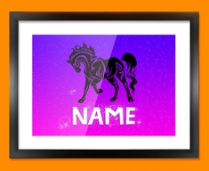 Tribal Horse Personalised Childrens Name Framed Print