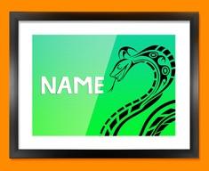Tribal Snake Personalised Childrens Name Framed Print