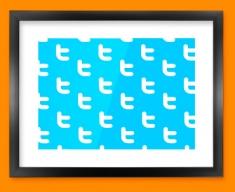 Twitter Pattern Social Networking Framed Print