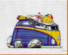 VW Beach Van Canvas Art Print
