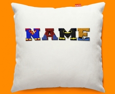 White Superhero Personalised Childrens Name Sofa Cushion