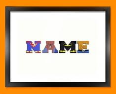 White Superhero Personalised Childrens Name Framed Print