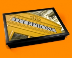 Yellow Phone Box Cushion Lap Tray