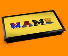 Yellow Superhero Personalised Childrens Name Cushioned Laptop Lap Tray