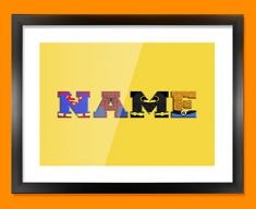 Yellow Superhero Personalised Childrens Name Framed Print