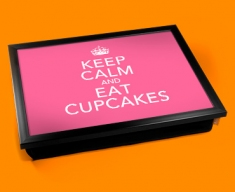 Eat Cupcakes Keep Calm Cushion Lap Tray